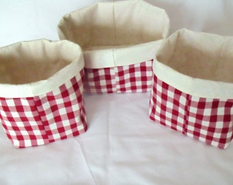 fabric baskets, set bins, storage buckets, fabric containers, storage solutions, 3 red checked tubs