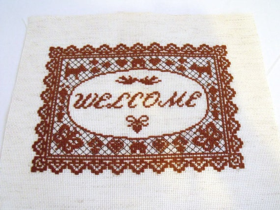 welcome cross stitch picture, counted cross stitch to frame, house warming gift, wall art, embroidered picture