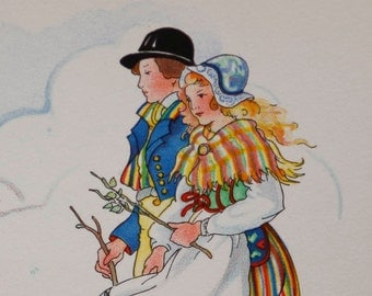 Vintage mint 60's postcard by Aina Stenberg showing swedish traditional angermanland clothing and countryside scene