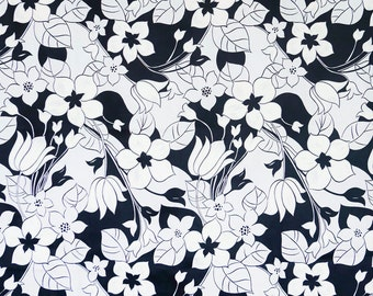 Black and white vintage barkcloth hawaiian floral fabric with texturized white flowers