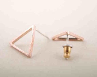 Gold plated geometric studs, triangle studs, Silver triangle studs, Rose gold triangle studs, small dainty triangle studs, perfect gift her