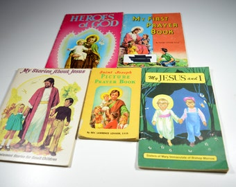 Vintage Children's Religious Books Lot of 5 Jesus and I My First Prayer Book Stories About Jesus Saint Joseph Picture Prayer Book