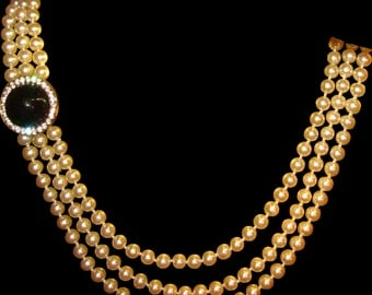 Vintage Triple Strand Faux Pearl Necklace with Faux Black Onyx Cabochon and Rhinestones