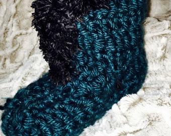 Deep Teal Crochet Slipper-Boot