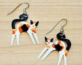 Happy Kitty Calico Copper Earrings Hand Painted Wearable Art