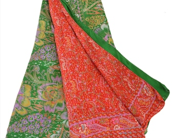 KK Pure Silk Sari Red Green Saree With Floral Print