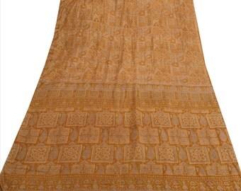 KK Pure Silk Saree Green Printed Sari Cultural Craft Fabric