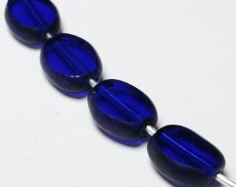 15pcs Oval Beads - Czech Glass Beads - Flat Beads - Cobalt Blue Beads - 8x6mm - Dark Blue Beads - BB31