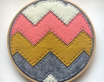 Hoop Art, Wall Art, Chevron pattern, coral, grey, mustard yellow, cream, and linen