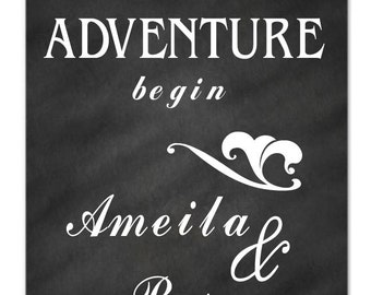Let the Adventure begin, custom names- wedding decor, wall decal