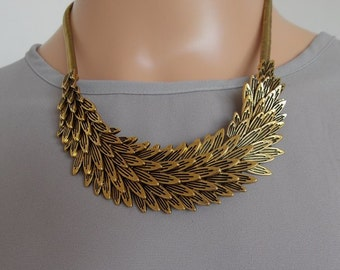 Gold Metallic Feather Statement Necklace