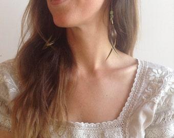 Delicate Green Kyanite Feather Earrings