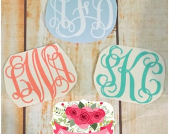 Personalized monogrammed initial decal, adhesive sticker decal monogram, sticker, cursive, monogram decal, car decal, yeti decal, cute