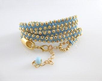 Blue Wrap Bracelet Gold, Blue Bracelet, Wrap Bracelet, Wrap Bracelet Gold,Blue Wrap Bracelet, Wrap Bracelet Blue,Bracelet Blue,Bracelet Wrap