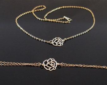 Rose Flower Necklace Gold, Flower Necklace Gold, Flower Necklace,Rose Necklace Gold,Rose Gold Necklace,Set Rose necklace,Set Flower Necklace