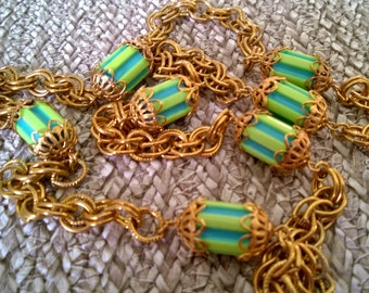 Chunky chain and bead necklace, aqua and lime striped bead with filigree connectors