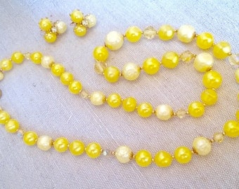 Retro yellow bead and crystal necklace and earring set
