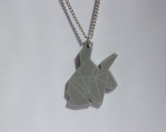 Grey perspex origami inspired, Naught Rabbits necklace - Lost in Perspex