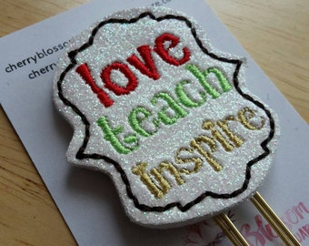 Love Teach Inspire Teacher Paper Clip