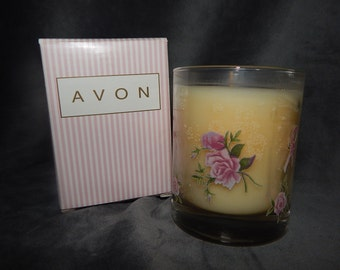 Vintage Avon  Pink Ribbon  Candle Holder with Candle
