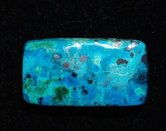 Chrysocolla Malachite Azurite cabochon, turquoise, green, royal blue, black matrix, rectangle, 28 x 15, Arizona, C3755