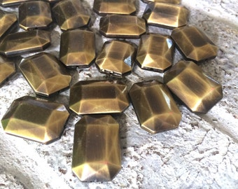 Gold Faceted Rectangle Beads, large chunky beads, gold beads for gold bracelet, gold jewerly, wire bangle beads, gem stone beads, big beads