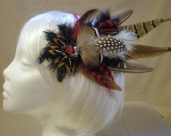 Touch Of Red Feather Hair Piece