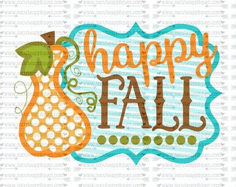 SVG, DXF, EPS cutting file, Happy Fall Gourd frame svg, Thanksgiving svg, socuteappliques, pumpkin svg, halloween svg, fall frame svg