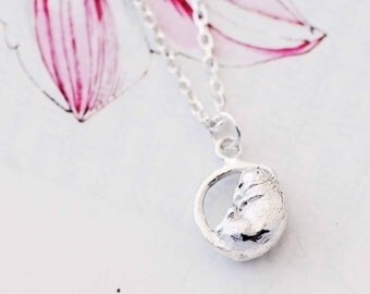 Mouse Necklace, nature jewellery, sleeping dormouse, silver necklace, handmade necklace, Uk seller