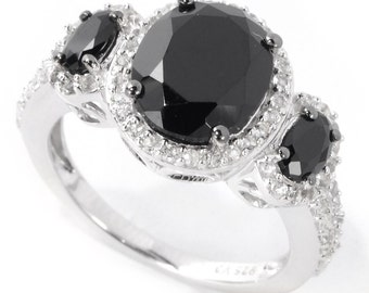 Sterling Silver 4.61ctw Spinel & White Topaz Three-Stone Ring