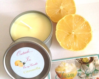 Citronella candle, lemon candle, eco soy wax citrus candle, garden candle, insect repellent candle, summer candle, outdoor candle