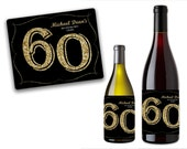 Custom Milestone Birthday Wine Bottle Labels - Champagne Bottle Labels - 40th 30th 50th 60th 70th - Adult Party Favors - Gold Glitter