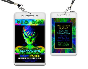 Glow Party Birthday Invitations - Rave Invitation - Sleepover Invite - Lock In Invitations - Glow In The Dark - Glow VIP Pass - Boys Glow