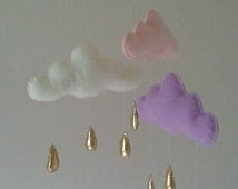 Hanging clouds,baby mobile gold,lavender clouds,clouds mobile,cloud mobile,felt clouds decor,cloud mobile baby,baby mobile hanging,handmade