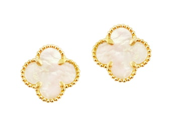 18k Yellow Gold Over Sterling Silver 925 Mother of Pearl Clover Stud Earrings 15.0mm