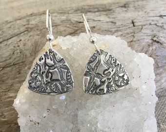 Seascape Silver Earrings