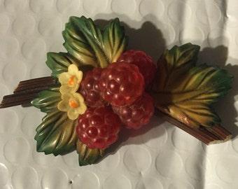 1930's cellulois pin raspberries