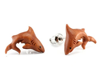 "Hand Carved - ""Shark"" - Sabo Wood with Ebony Wood Inlay Stud Earring - Marina Bay"