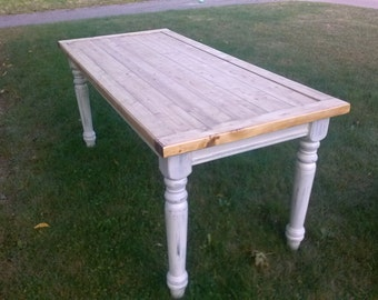 Rustic Farmer Style Kitchen Table (Reclaimed Wood)