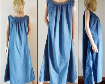 Antique French blue cotton night dress hand made lace cotton rustic night dress size S/M