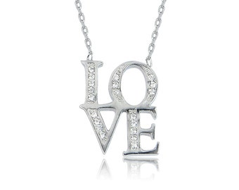 Holiday Sale love necklace, sterling silver love necklace, cubic zirconia