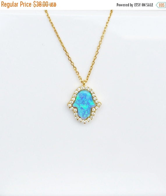 opal hamsa cz necklace in gold plated sterling silver, the hand of fatima is popular world wide, used as protection from others doing evil