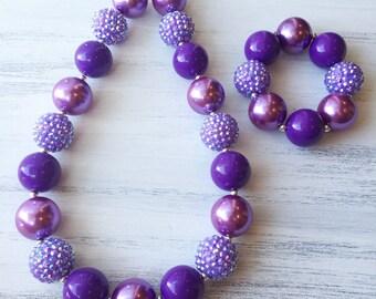 Purple Bubblegum Necklace, Purple Chunky Necklace, Purple Baby Necklace, Purple 1st Birthday Necklace, Purple Toddler Necklace, Bracelet