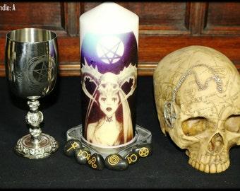 High Priestess Candle  Set - Candle, Chalice & Salem Skull