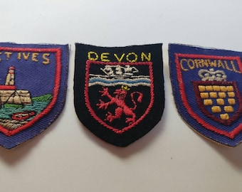 3 vintage British patches souvenir Cornwall St Ives Devon
