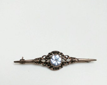 Antique silver brooch facetted aquamarine vintage jewelry gift for her Christmas day proposal engagement gift
