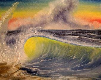 Shore Breaker - 20 x 16 Oil Paint on Canvas - Original Painting, Wave Art, Beach Art, Seascape Art, Breaking Waves, Wave Pictures, Beach Art