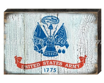 US ARMY FLAG -Military Patriotic Rustic  Distressed Wooden  Board Sign  #85098AM