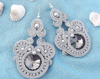 Shimmering Grey BIG  Rivoli crystals - Soutache earrings