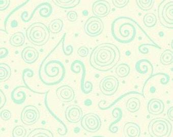 Aqua swirls on cream background- 100% cotton fabric by the yard.